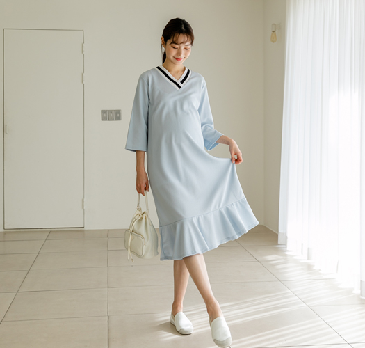 104976 - 임부복*시보리배색 프릴원피스