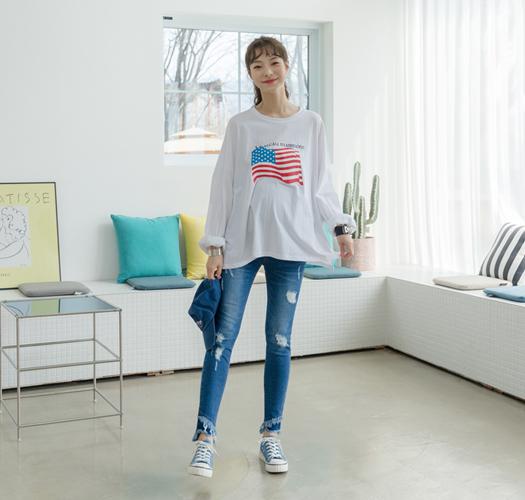 105534 - 임부복*성조기루즈핏 티셔츠