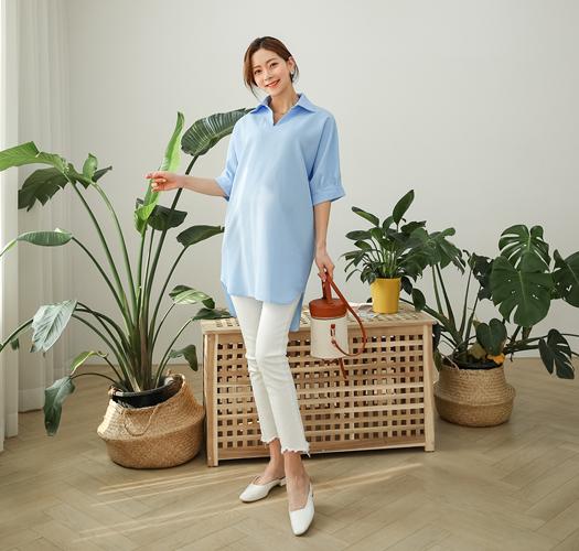 105754 - 임부복*파란하늘 벨트셔츠