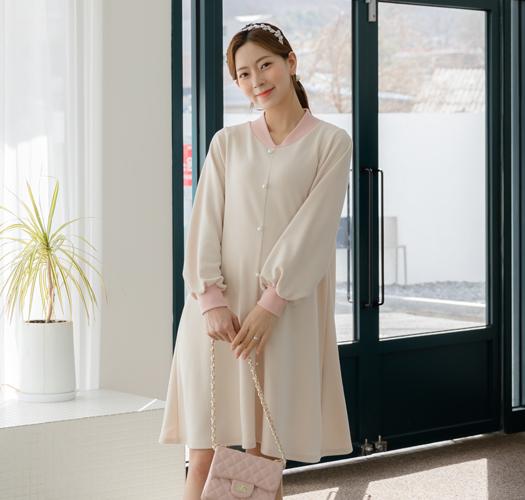 105313 - 임부복*살랑배색진주 원피스
