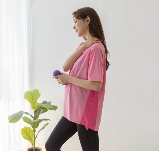 105829 - 임부복*매쉬배색 요가티셔츠