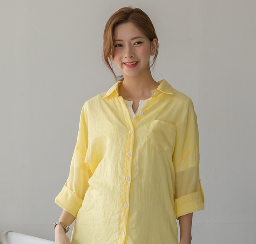105990 - 임부복*루즈핏거즈면 롤업셔츠