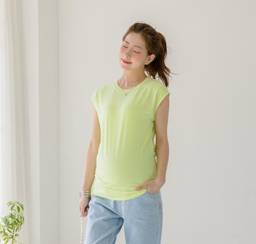 106206 - 임부복*라운드슬릿 캡티셔츠