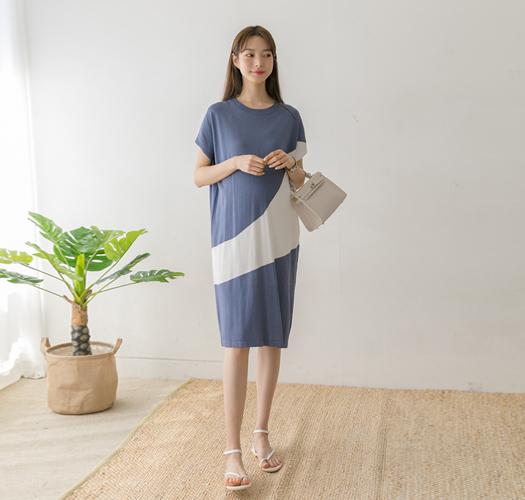 106240 - 임부복*사선배색 여름니트원피스