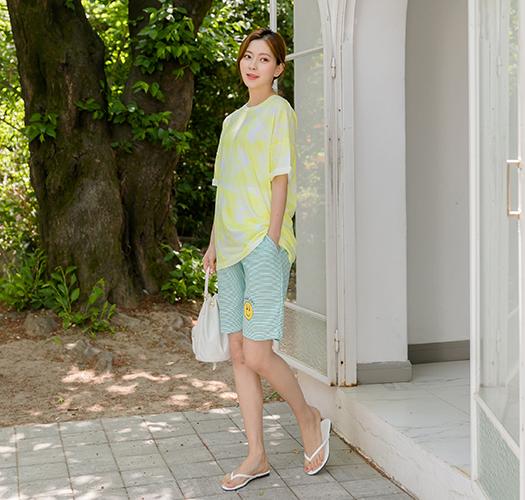 107213 - 임부복*젤리물나염 여름티셔츠